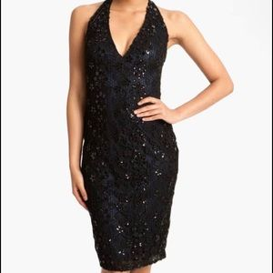 David Meister Black Lace Halter Cocktail Dress